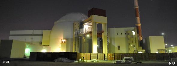 A nighttime view of Iran's Bushehr nuclear reactor facility