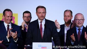 Лидер СвДП Кристиан Линднер после оглашения результатов выборов 2021