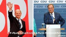 Bundestagswahl 2021 | Olaf Scholz (L) und Armin Laschet (R) am Wahlabend. Berlin 26.09.2021 Foto (Laschet): Martin Meissner/AP/picture alliance Foto (Scholz): Wolfgang Rattay/Reuters