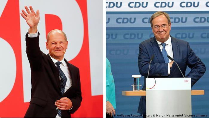 Olaf Scholz (SPD, à gauche) ou Armin Laschet (CDU, à droite) sera sans doute le prochain chancelier