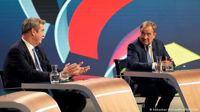 Bundestagswahl 2021 | Spitzenkandidaten bei einer TV Debatte am Wahlabend