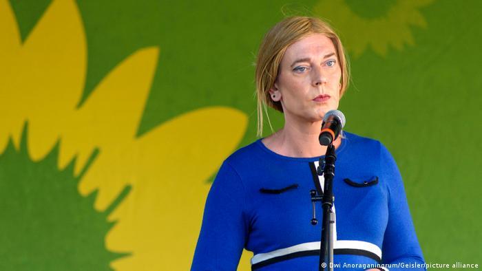 Tessa Ganserer speaks at a Green Party event last week