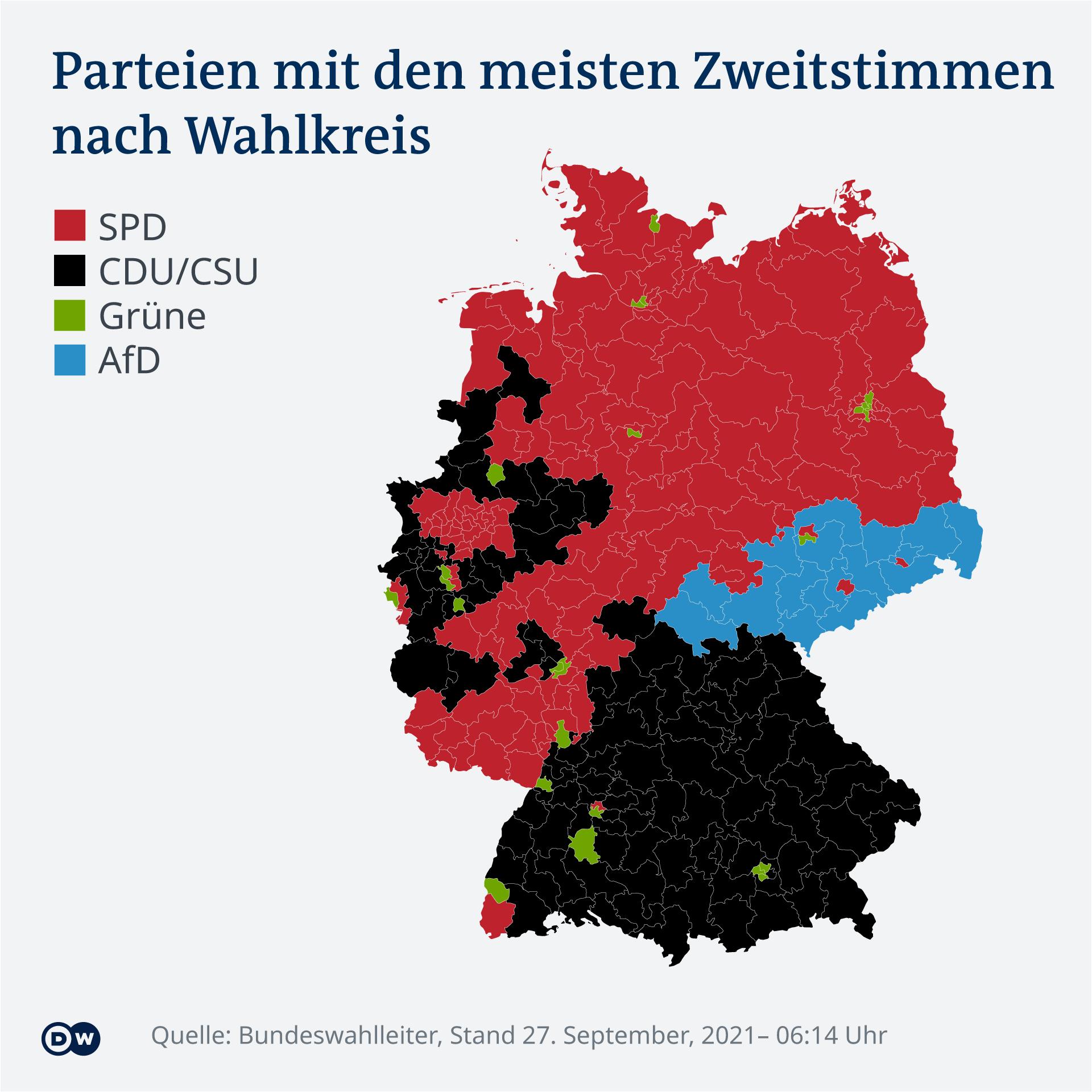 Infografik - Karte - Zweitstimmen nach Wahlkreis - DE