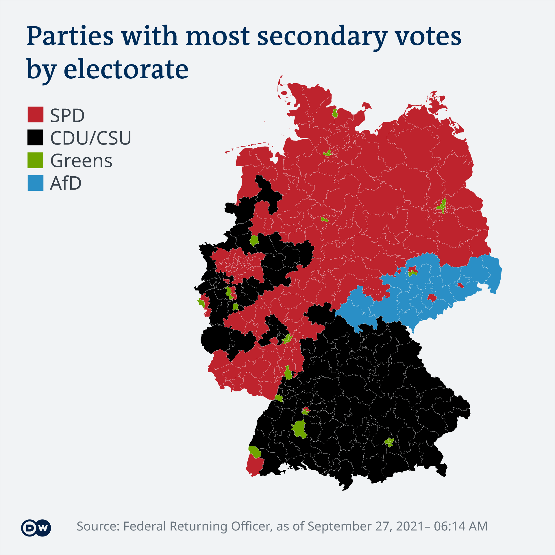 DW Infographic of 2021 German federal election results by electoral district