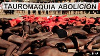 Activists lie dead on ground in protest to bullfights