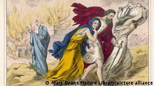 Grafik von Personen, die aus dem brennenden Sodom fliehen