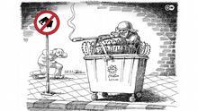 Karikatur der Woche von Mana Neyestani. Bekämpfung von Müllsammler in Iran