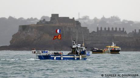 Protesta de pesqueros franceses en la isla británica de Jersey.