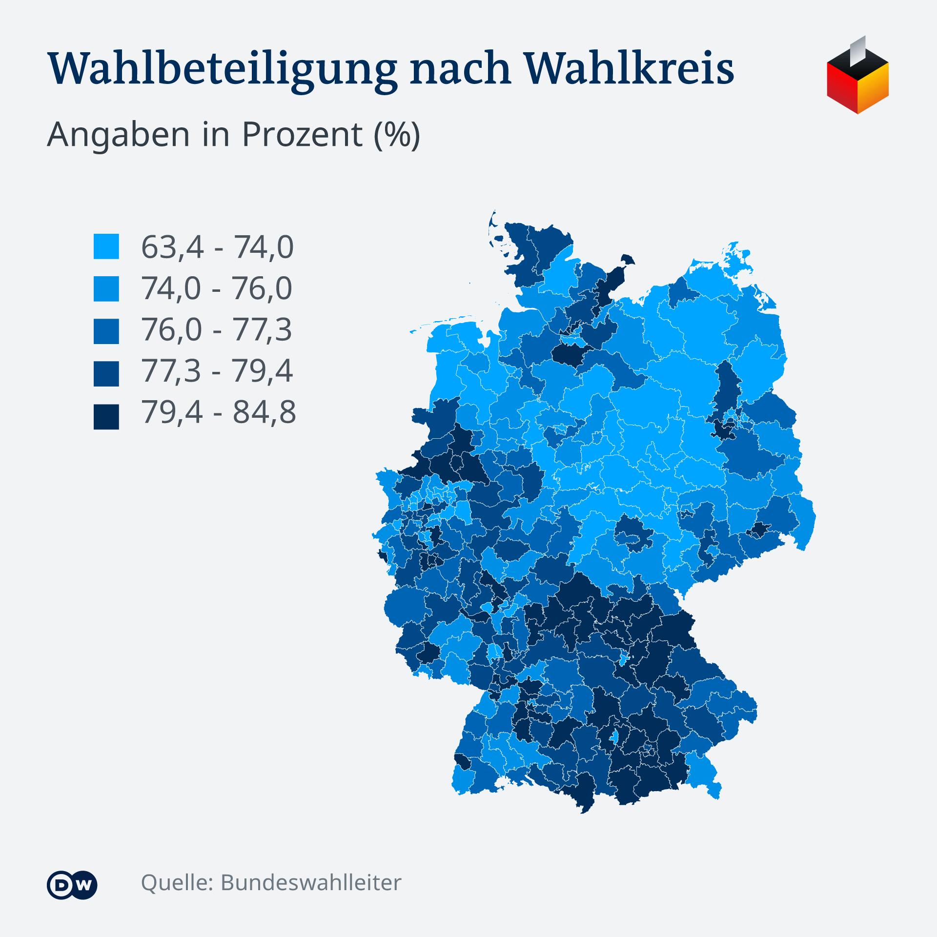 Infografik - BuWa 2021 Ergebnisse in den Wahlkreisen - DE