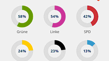 Infografică cota femeilor în Bundestag la fiecare partid reprezentat