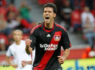Leverkusen's Michael Ballack reacts after scoring by a penalty to his side's third goal during the first match in the play-off round of the European League between Germany's Bayer 04 Leverkusen und Ukraine's SC Tavrija Simferopol in Leverkusen, Germany, on Thursday, August 19, 2010. (apn Photo/Hermann J. Knippertz)