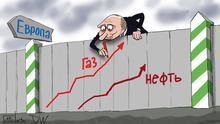 Karikatur - russischer Präsident Wladimir Putin bückt sich von oben über den Grenzzaun zwischen Russland und Europa und malt auf de Zaun steigende Kurven für die steigende Preise für Gas und Öl.