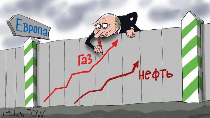 Карикатура Сергея Елкина - президент России Владимир Путин перевешивается с забора между Россией и Европой и рисует на его европейской стороне растущие кривые цен на нефть и газ.
