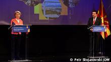 Präsidentin der Europäischen Kommission Ursula von der Leyen und der Premierminister Nordmazedoniens Zoran Zaev. Skopje, 28.09.2021 Petr Stojanovski via Boris Georgievski