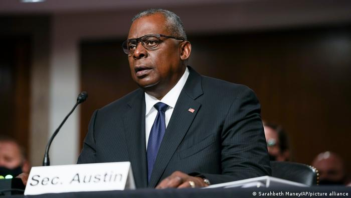Defense Secretary Lloyd Austin speaks during a Senate Armed Services Committee hearing Tuesday
