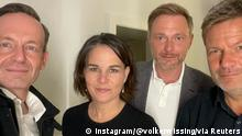 German politicians Volker Wissing and Christian Lindner of the FDP, together with Annalena Baerbock and Robert Habeck of the Greens, pose for a selfie photograph, in an unknown location September 28, 2021 in this picture obtained from social media. INSTAGRAM @volkerwissing /via REUTERS THIS IMAGE HAS BEEN SUPPLIED BY A THIRD PARTY. MANDATORY CREDIT. NO RESALES. NO ARCHIVES.
