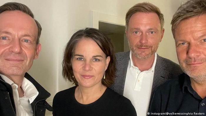 FDP Genel Sekreteri Volker Wissing, Yeşiller Eş Başkanı Annalena Baerbock, FDP lideri Christian Lindner, Yeşiller Eş Başkanı Robert Habeck