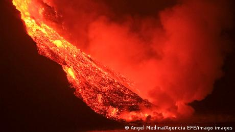 A volcano erupts on La Palma in the Canary Islands