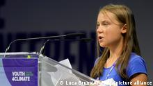 Swedish climate activist Greta Thunberg speaks duringathree-dayYouth for Climatesummit in Milan, Italy, Tuesday, Sept. 28, 2021.(AP Photo/Luca Bruno)