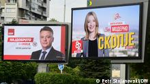 Billboards (Werbetafeln) Danela Arsovska und Petre Shilegov