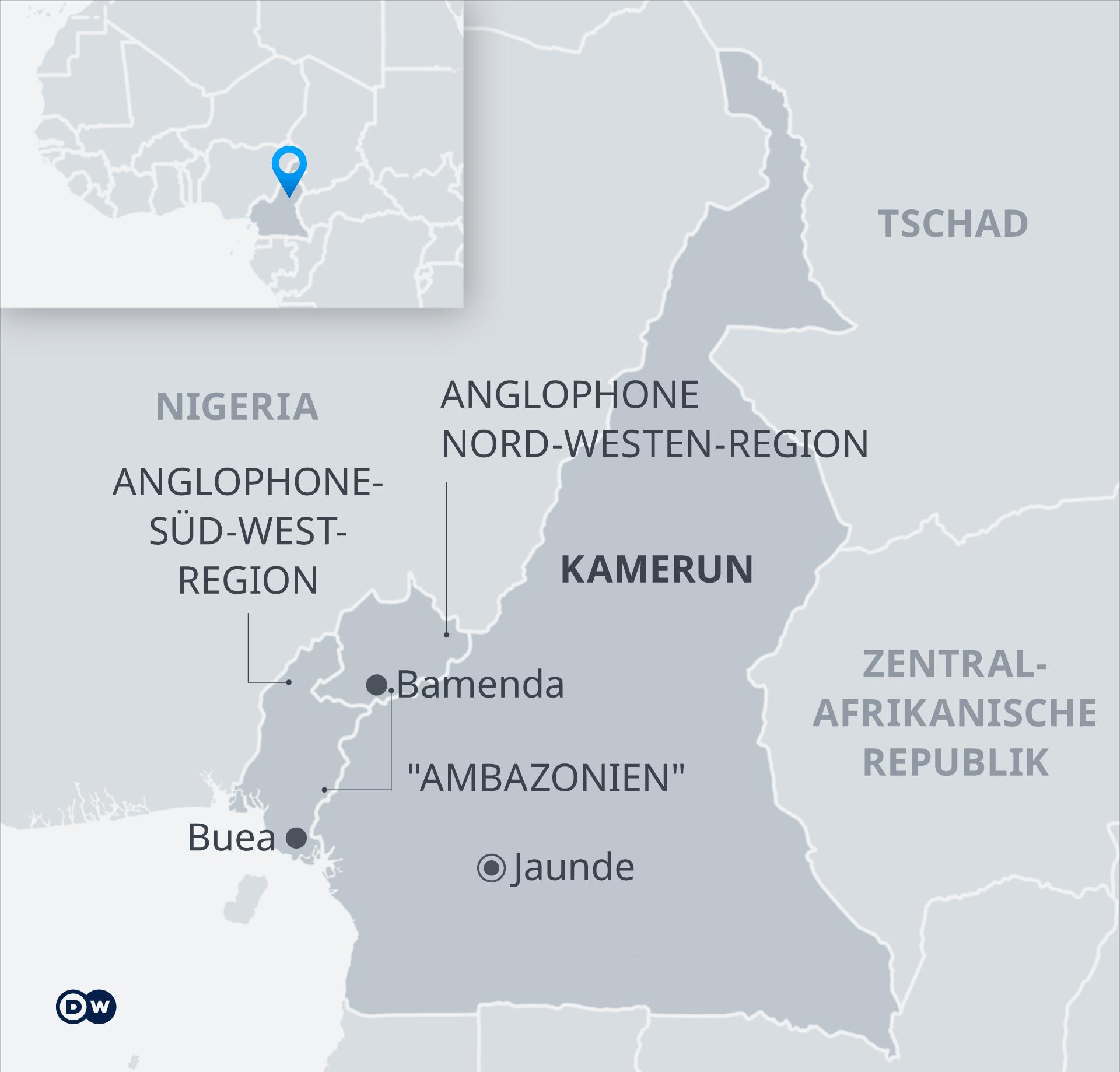 Infografik Karte Kamerun mit Nord-West-Kamerun und Süd-West Kamerun DE