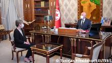 Tunisia's President Kais Saied meets with newly appointed Prime Minister Najla Bouden Romdhane, in Tunis, Tunisia September 29, 2021. Tunisian Presidency/Handout via REUTERS ATTENTION EDITORS - THIS IMAGE WAS PROVIDED BY A THIRD PARTY. NO RESALES. NO ARCHIVES.