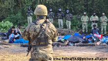 PODLASIE VOIVODESHIP, POLAND - AUGUST 20, 2021: Armed Polish soldiers and Afghan refugees who have fled the Taliban are seen near the village of Usnarz Gorny in eastern Poland on the border to Belarus. A group of 30 refugees have been stranded at the Polish-Belarusian border under the custody of Polish law enforcement officers for 12 days after illegally crossing the border. Armed members of Belarusian security forces do not let them return to Belarus while Polish border guards and army officers prevent them from continuing their journey across Poland. Irina Polina/TASS