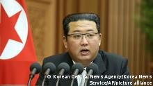 In this photo provided by the North Korean government, North Korean leader Kim Jong Un speaks during a parliament meeting in Pyongyang, North Korea Wednesday, Sept. 29, 2021. Independent journalists were not given access to cover the event depicted in this image distributed by the North Korean government. The content of this image is as provided and cannot be independently verified. (Korean Central News Agency/Korea News Service via AP)