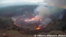 This webcam image provided by the United States Geological Survey shows a view of an eruption that has begun in the Halemaumau crater at the summit of Hawaii's Kilauea volcano, Wednesday, Sept. 29, 2021. (USGS via AP)