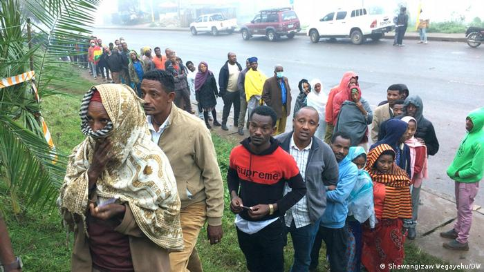 Voters line up to cast their ballot in the second phase of Ethiopia's elections