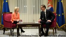 In this photo provided by the Serbian Presidential Press Service, Serbian President Aleksandar Vucic, right, speaks with European Commission President Ursula von der Leyen in Belgrade, Serbia, Wednesday, Sept.29, 2021. Von der Leyen is visiting the six Balkan countries to assure their future is in the EU. The Western Balkan countries — Albania, Bosnia, Kosovo, Montenegro, North Macedonia and Serbia — are at different stages on the EU membership path. (Serbian Presidential Press Service via AP)