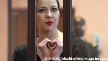 06/09/2021*** News Themen der Woche KW36 News Bilder des Tages Belarus Opposition Figures Trial 6644295 06.09.2021 Maria Kolesnikova, a member of the Belarusian opposition coordination council s presidium, accused of conspiring to seize state power, calling for actions aimed at causing harm to national security, and creating an extremist group, makes a heart gesture during a hearing at the Minsk District Court, Belarus. A court on Monday sentenced key opposition figure Maria Kolesnikova, who led mass protests against President Alexander Lukashenko last year, to 11 years in prison on national security charges. Maxim Znak was also handed a 10-year prison sentence. Viktor Tolochko / Sputnik Minsk Belarus PUBLICATIONxINxGERxSUIxAUTxONLY Copyright: xViktorxTolochkox