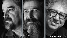 Bildkombo   Inhaftierte iranische Schriftsteller: Reza Khandan Mahabadi, Keyvan Bajan and Baktash Abtin PEN AMERICA TO HONOR IMPRISONED IRANIAN WRITERS AND FREE EXPRESSION ADVOCATES BAKTASH ABTIN, KEYVAN BAJAN, AND REZA KHANDAN MAHABADI AT 2021 GALA