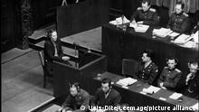 Deuxieme guerre mondiale (1939-1945) : la communiste Marie Claude Vaillant-Couturier (Vaillant Couturier) (1912-1996) temoigne pendant le proces des principaux dirigeants nazis a Nuremberg en Allemagne. Photographie le 28 janvier 1946. ©Usis-Dite/Leemage