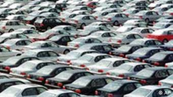 German cars wait to be exported at the port in Bremerhaven
