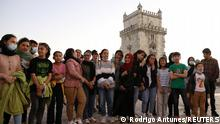 Players of Afghanistan's national women's football team stand near the Belem Tower in Lisbon, Portugal, September 29, 2021. Picture taken September 29, 2021. REUTERS/Rodrigo Antunes NO RESALES. NO ARCHIVES