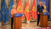 ***ACHTUNG: Bild nur zur freigegebenen Berichterstattung verwenden!*** via Vera Katana Ursula Von Der Leyen in Montenegro. Press meeting with president of Montenegro Milo Djukanovic. Photo was taken on 29.09.2021 by the Montenegrin presidency press office.