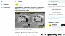 Screenshot Twitter Account ImageSatIntl Es handelt sich um eine Explosion in einem Zentrum für Forschung. Dieses Zentrum wird von der iranischen Revolutionsgarde betrieben. Es gibt Berichte, dass dies ein millitärischer Angriff auf die Anlage gewesen sei. Quelle: https://twitter.com/ImageSatIntl/status/1443632934083338247