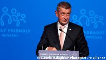 Czech Republic's Prime Minister Andrej Babis holds a speech during the 4th Budapest Demographic Summit in Budapest, Hungary, Thursday, Sept. 23, 2021. The biannual demographic summit, which was first organized in 2015, offers a forum for pro-family thinker decision-makers, scientists, researchers, and church representatives of the same sort to exchange their thoughts about connections between demographics and sustainability. (AP Photo/Laszlo Balogh)