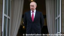 Russian President Vladimir Putin is seen at the Bocharov Ruchei state residence after a meeting with Turkish President Tayyip Erdogan in Sochi, Russia September 29, 2021. Sputnik/Vladimir Smirnov/Pool via REUTERS ATTENTION EDITORS - THIS IMAGE WAS PROVIDED BY A THIRD PARTY.