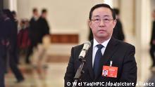 Minister of Justice Fu Zhenghua receives an interview before the third plenary meeting of the second session of the 13th National People's Congress (NPC) at the Great Hall of the People in Beijing, China, 12 March 2019.