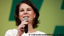 Co-leader of Germany's Greens (Die Gruenen) Annalena Baerbock addresses party members during a small-scale congress of Germany's Green Party on the outcome of the elections and the upcoming government, in Berlin on October 2, 2021. (Photo by Odd ANDERSEN / AFP) (Photo by ODD ANDERSEN/AFP via Getty Images)