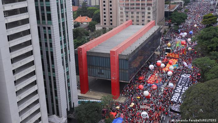 Brasilien Protest gegen Bolsonaro in Sao Paulo