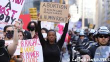 Supporters of reproductive choice take part in the nationwide Women's March, held after Texas rolled out a near-total ban on abortion procedures and access to abortion-inducing medications, in New York City, New York, U.S. October 2, 2021. REUTERS/Caitlin Ochs