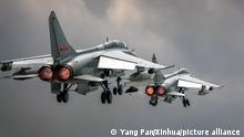 (180712) -- JINAN, July 12, 2018 (Xinhua) -- Two PLA airforce JH-7A fighter-bombers are seen during a training module in preparation for the International Army Games on July 12, 2018. The Chinese People's Liberation Army (PLA) air force will send H-6K bombers, J-10A fighters, JH-7A fighter-bombers, IL-76 and Y-9 transport aircrafts, and a team of airborne troops to Russia to participate in the International Army Games 2018. It will be the first time that H-6K bombers and Y-9 transport aircraft have gone abroad to take part in military competitions.(Xinhua/Yang Pan) (lmm)