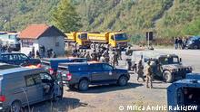 02.10.2021 Jarinje - KFOR forces take positions close to the barricades KFOR soldiers taking position while one lane is still blocked