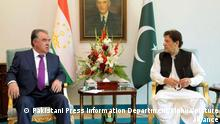 (210602) -- ISLAMABAD, June 2, 2021 (Xinhua) -- Pakistani Prime Minister Imran Khan (R) meets with Tajik President Emomali Rahmon in Islamabad, capital of Pakistan, June 2, 2021. Pakistan and Tajikistan agreed here on Wednesday to further deepen their bilateral relations in diverse fields with a special focus on promoting trade and economic cooperation, said a joint declaration issued by the Prime Minister Office of Pakistan. (Pakistani Press Information Department/Handout via Xinhua)