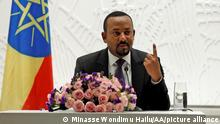 ADDIS ABABA, ETHIOPIA - (ARCHIVE) : A file photo dated August 01, 2019 shows Ethiopia's Prime Minister Abiy Ahmed speaking during a press conference on general elections in Addis Ababa, Ethiopia. Ethiopian Prime Minister Abiy Ahmed Ali won a Nobel Peace Prize in 2019. Minasse Wondimu Hailu / Anadolu Agency