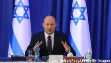 Israeli Prime Minister Naftali Bennett chairs the weekly cabinet meeting at the Ministry of Foreign Affairs offices in Jerusalem, on September 11, 2021. (Photo by ABIR SULTAN / POOL / AFP) (Photo by ABIR SULTAN/POOL/AFP via Getty Images)