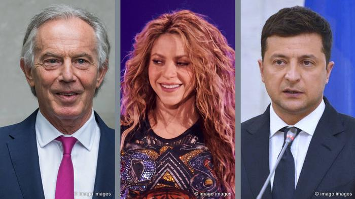 A picture split into three sections showing Tony Blair in suit; Shakira smiling; and Volodymyr Zelenskyy in a suit